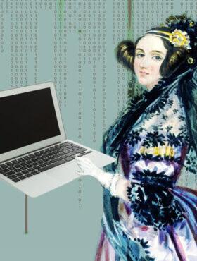 Das tut gut: Collage eines Bildes der Informatik-Pionierin Ada Lovelace, in der Hand einen Laptop, vor grünem Hintergrund mit Zahlreihen aus Einsen und Nullen. Wissenschaftlerinnen der Max-Planck-Gesellschaft stellen ihre historischen Vorbilder vor und machen anderen Mut. MPG ist Mitglied der Initiative