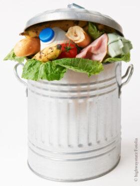 Das tut gut: Lebensmittel in einer Mülltonne, Illustration. Die Deutsche Umwelthilfe sagt Lebensmittelverschwendung den Kampf. Die DUH ist Mitglied der Initiative