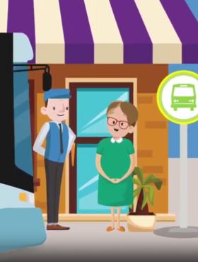 """Das tut gut: Eine ältere Fahr an der Bushaltestelle, Ausschnitt aus einem Erklärfilm. Wie umgehen mit Menschen mit Demenz? Die Deutsche Alzheimer Gesellschaft zeigt es in kostenlosen Kursen und einem Video. Sie ist Mitglied der Initiative """"Mein Erbe tut Gutes""""."""