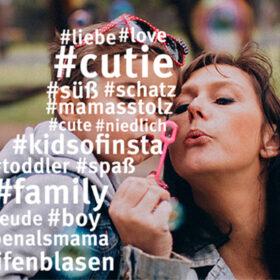 Das tut gut: Ausschnitt eines Kampagnenmotivs Das Deutsche Kinderhilfswerk gibt Tipps für den Umgang mit Kinderfotos im Netz. Das Motto: #DenkenFragenPosten. DKHW ist Mitglied der Initiative