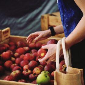 Nachhaltig leben: Frau greift nach Äpfel auf dem Wochenmarkt, über dem Arm ein Jutebeutel. Wandel beginnt mit kleinen Veränderungen. Nachhaltig zu leben, muss nicht Verzicht bedeuten. Tipps für den Alltag. In: Prinzip Apfelbaum. Magazin über das, was bleibt. Foto: estherhelen via Twenty20