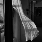 Prinzip Apfelbaum. Magazin über das, was bleibt. Ausgabe 13: STERBEN. USA. Brooklyn, NY. 2016: Eine weiße Gardine weht im Luftzug in einem Appartment. Symbolbild. Was wissen wir über das Sterben? Wie wollen wir sterben? Wie können wir uns vorbereiten? Was zählt am Ende wirklich und was bleibt, wenn wir nicht mehr sind? Foto: David Alan Harvey / Magnum Photos / Agentur Focus