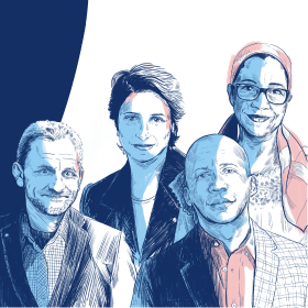 Das tut gut: Illustration der vier Träger des Alternativen Nobelpreises 2020. Nasrin Sotudeh, Bryan Stevenson, Lottie Cunningham Wren, Ales Bjaljazki. Die Right Livelihood Foundation ist Mitglied der Initiative